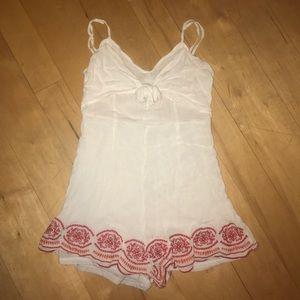 Dresses & Skirts - White Romper with Red Bottom Trim
